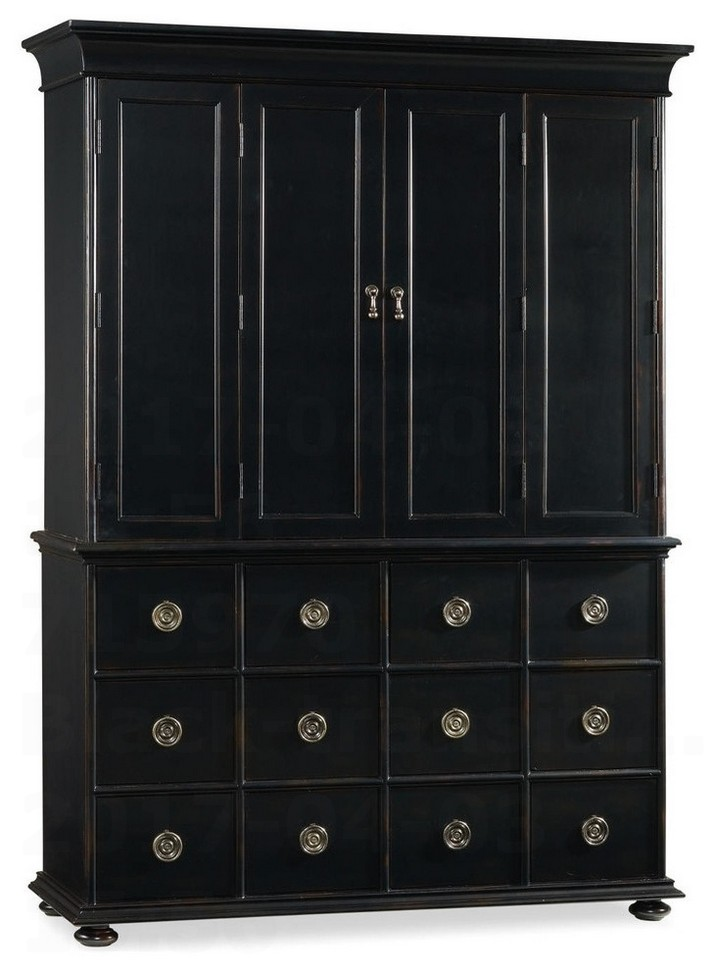 Black transitional armoire wardrobe closet