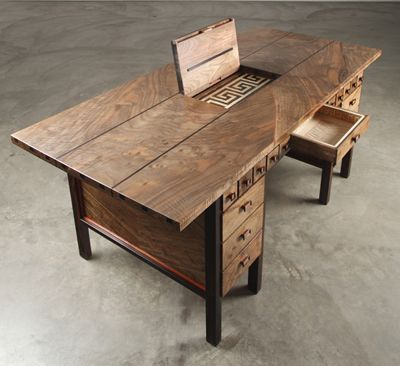 Desk with secret drawer open