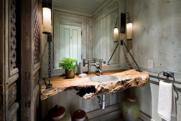 Solid wood sinks countertop stylish rustic bathroom decor