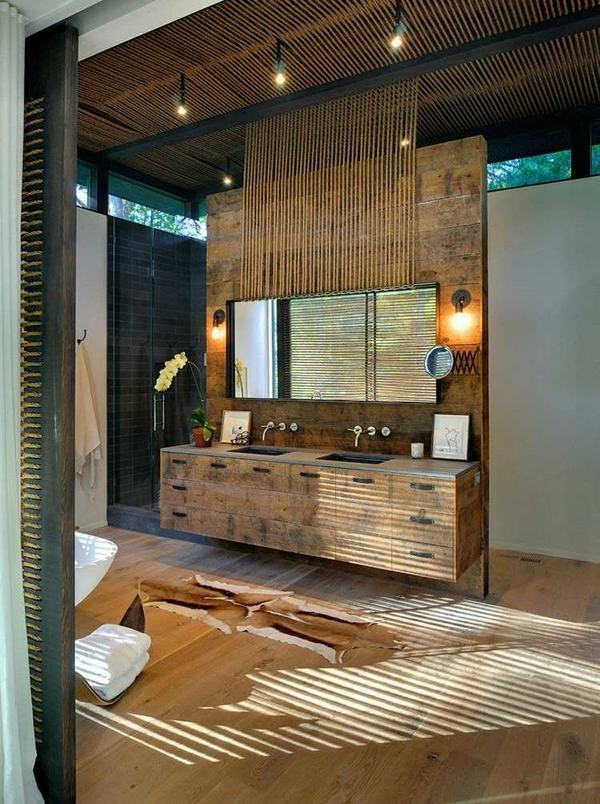 modern bathroom rustic decor wood vanity mirror wood floor