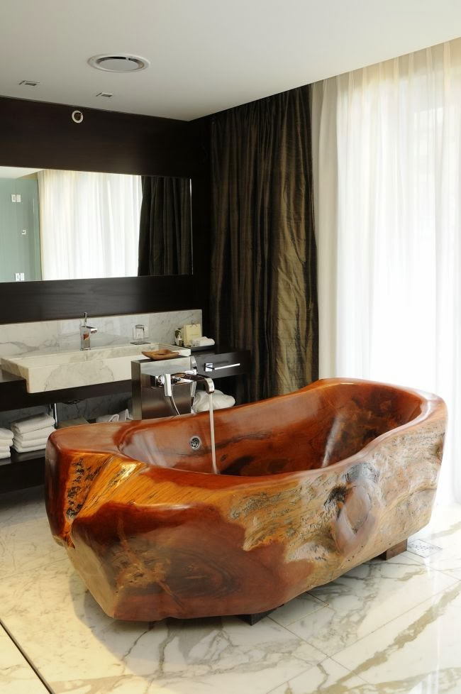 wooden adorable bathtub