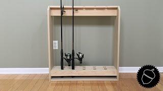 wooden fishing pole rack