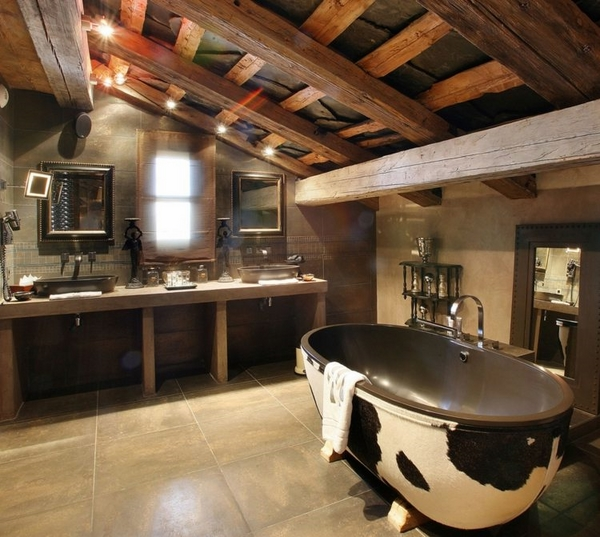 cowhide bathtub decoration countryc decor exposed ceiling beams