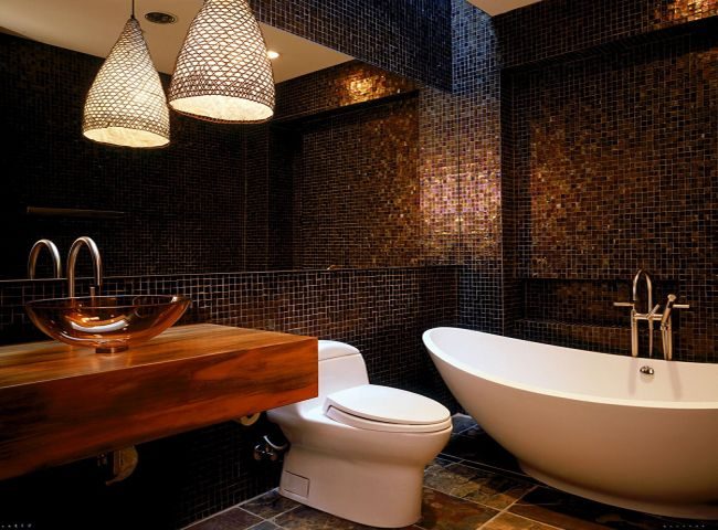 mosaic wooden decorated bathroom