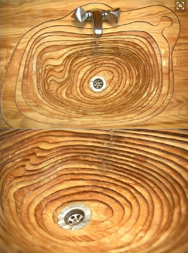 topographically inspired wooden bathroom sink