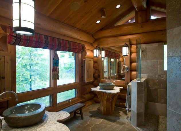 wooden cabin style bathroom